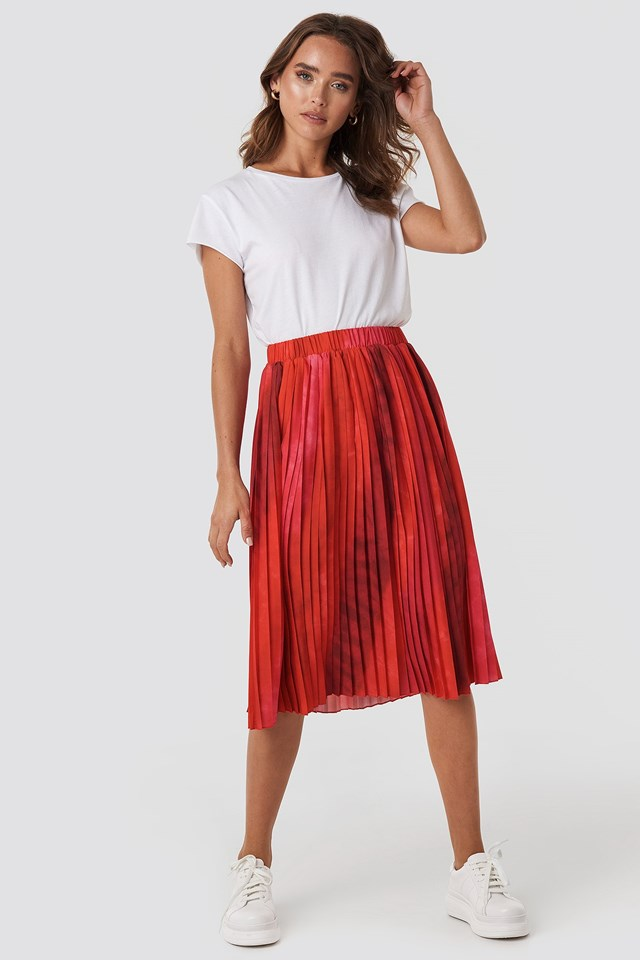 Tie-Dye Print Pleated Midi Skirt Multicolor
