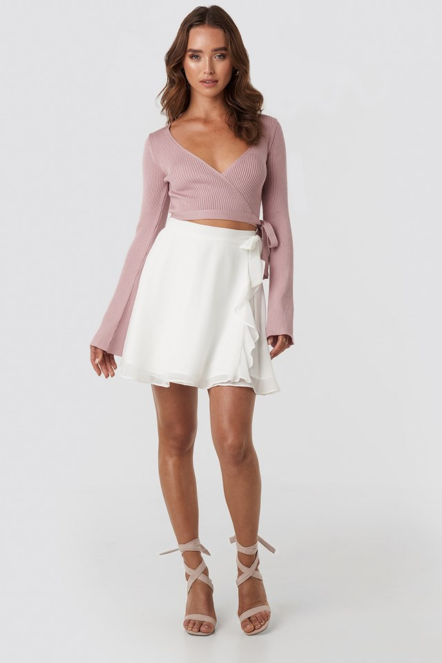 Ribbed Wrap Top Pink Outfit