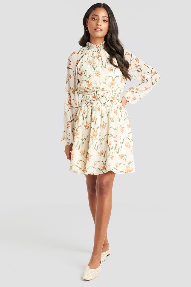 Flower Print Smock Detail Dress White Outfit.