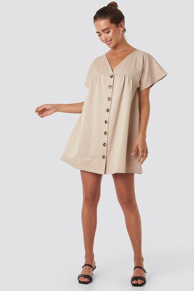 Button Detail Loose Fit Mini Dress Beige Outfit.