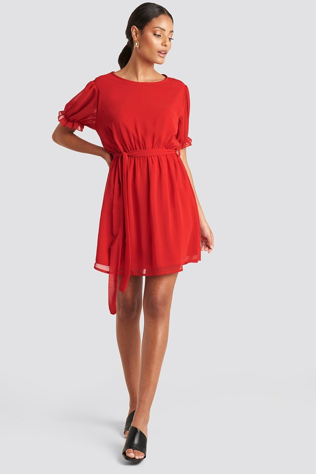 Short Sleeve Chiffon Dress Red Outfit
