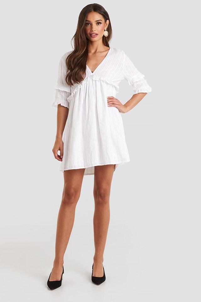 Open Back Ruffle Sleeve Mini Dress White