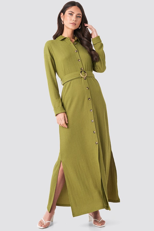Belted Shirt Maxi Dress Green