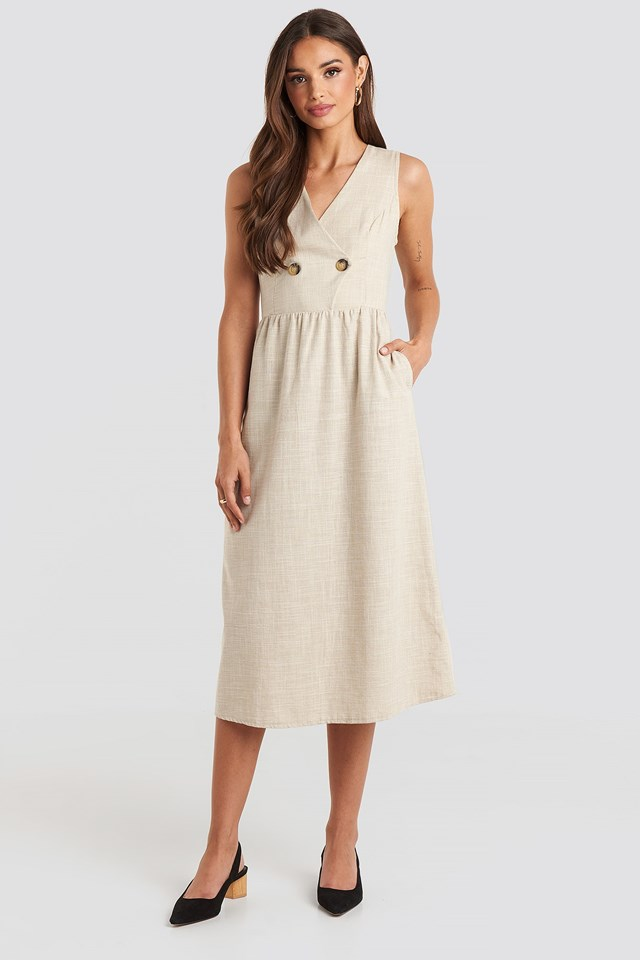 Carmen Button Detailed Midi Dress Beige