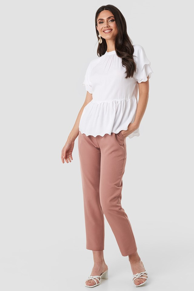 Scallop Hem High Neck Top White Outfit