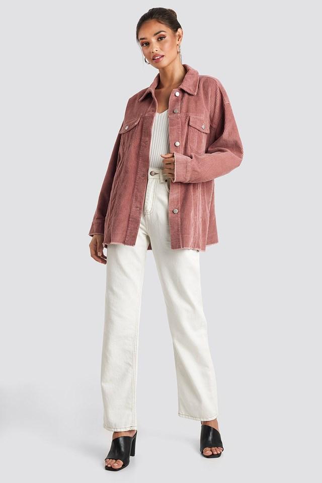 Oversized Raw Hem Corduroy Jacket Pink Outfit