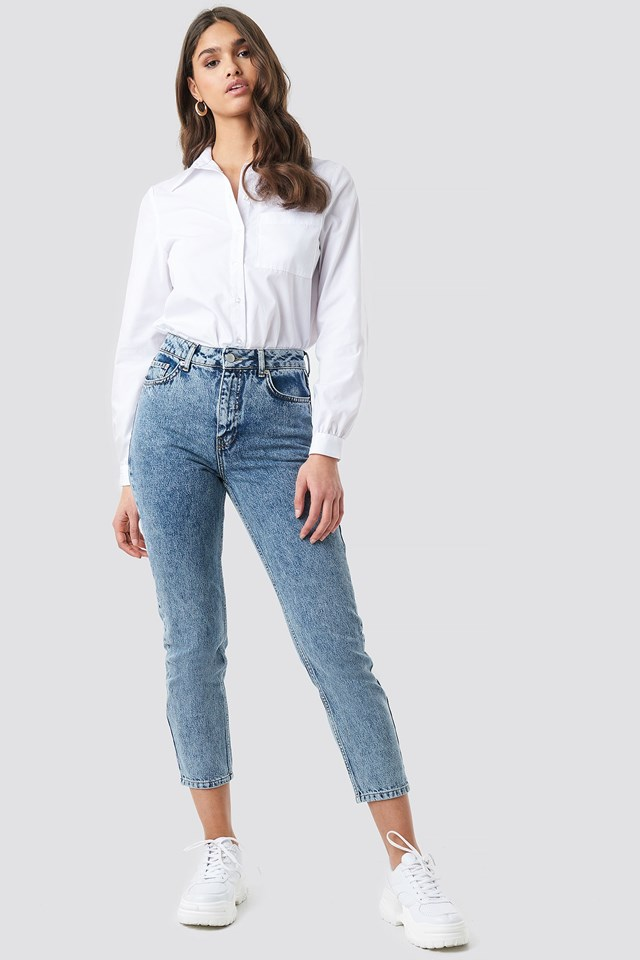 Cropped 5 Pocket Jeans Blue Outfit