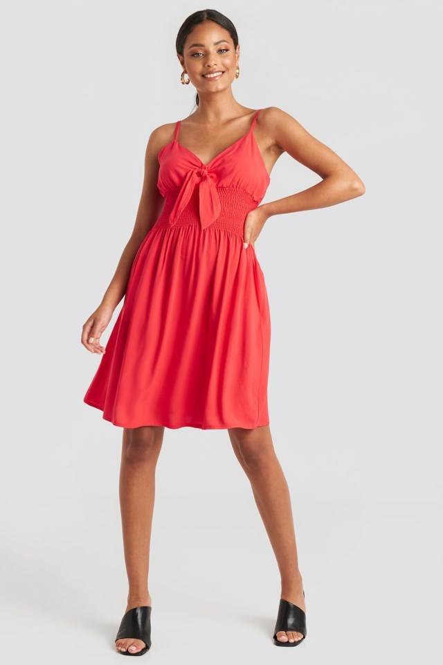 Front Knot Mini Dress Red Outfit