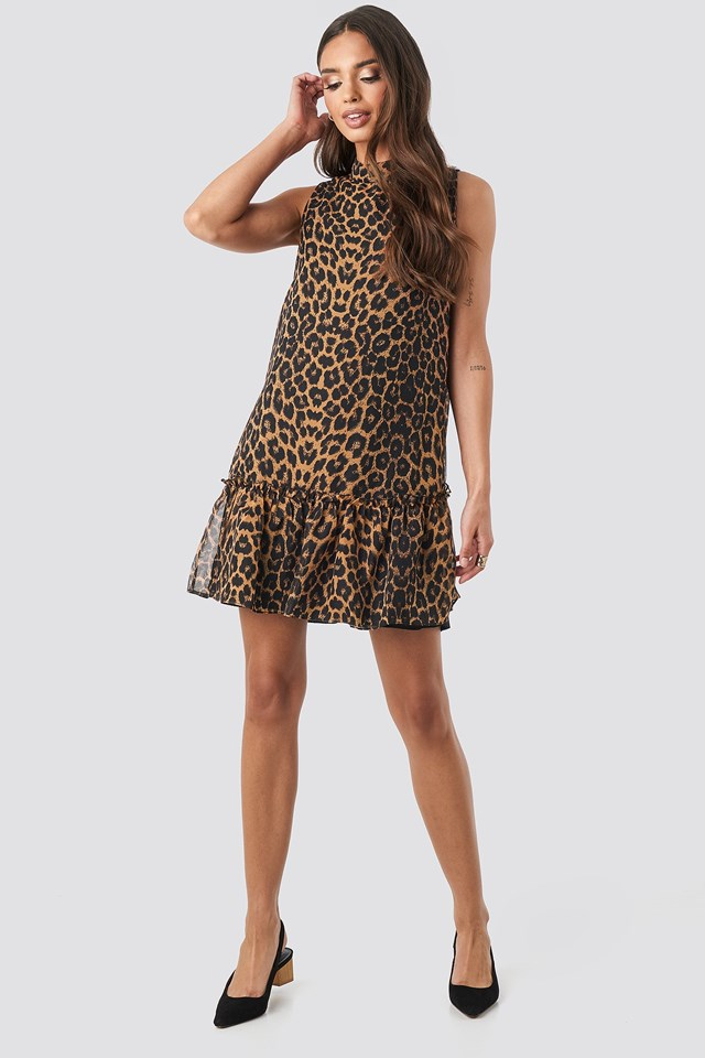Leopard Print Mini Dress Brown Outfit.