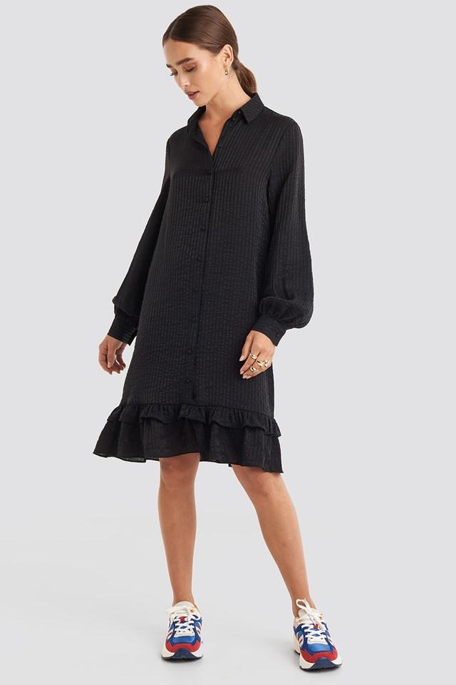 Striped Flounce Mini Dress Black Outfit.