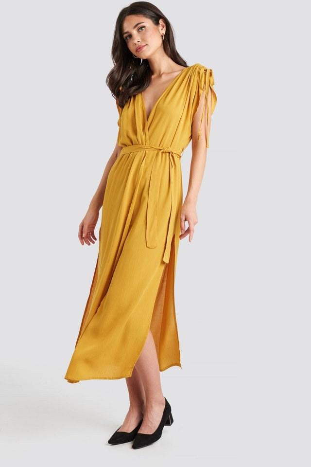 Binding Detailed Kimono Yellow Outfit