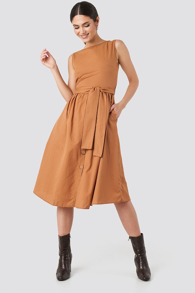 Front Button Binding Detailed Midi Dress Orange Outfit.