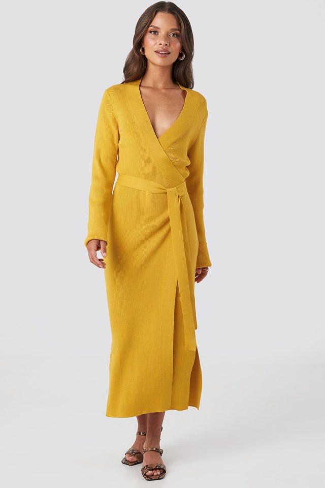 Rib Knitted Dress Yellow Outfit.