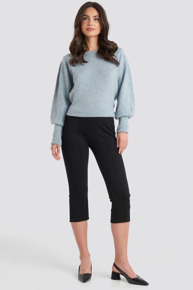 Elastic Waist Front Seam Pants Black Outfit