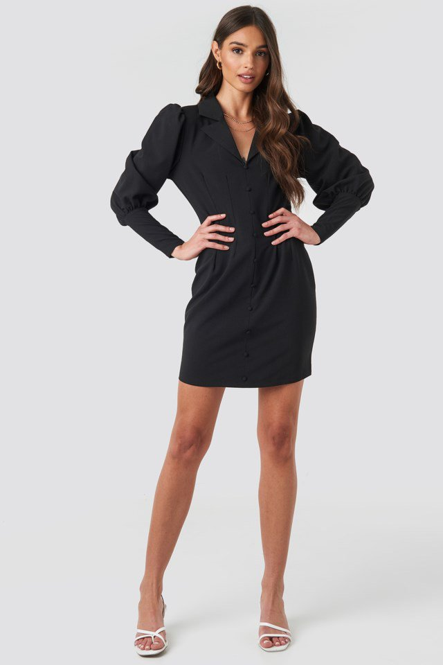 Button Front Mini Dress Black Outfit