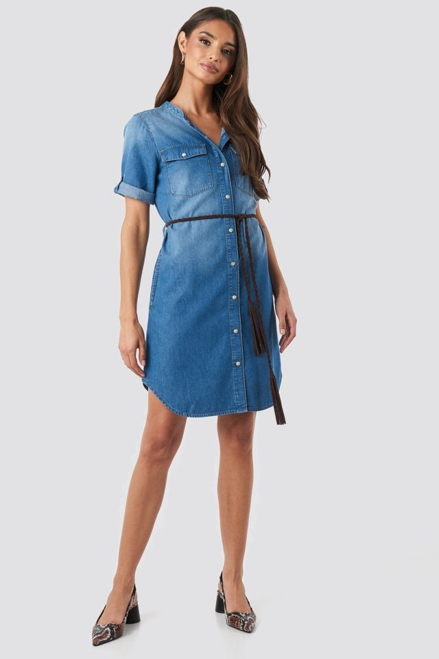 Grandad Collar Denim Mini Dress Blue Outfit
