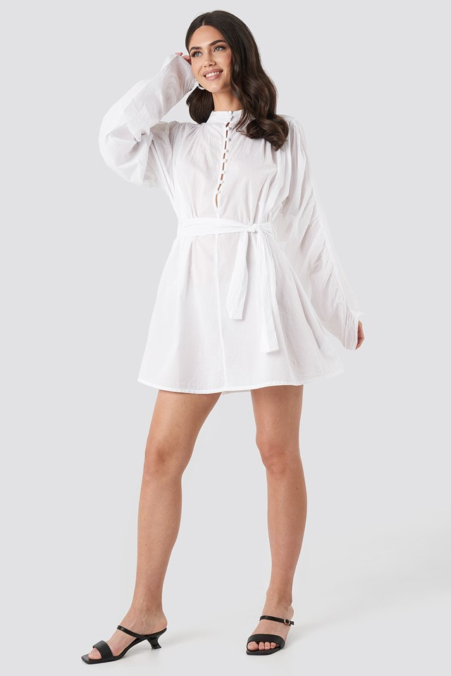 Gathered Sleeve Tied Waist Shirt White Outfit.