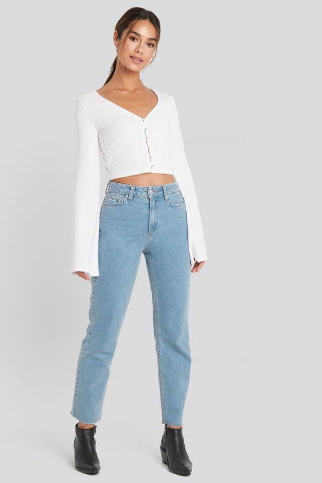Pearl Detail Jersey Top Outfit