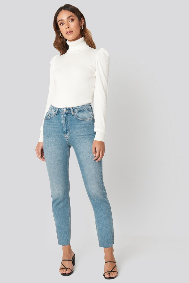 High Neck Puffy Shoulder Sweater Outfit