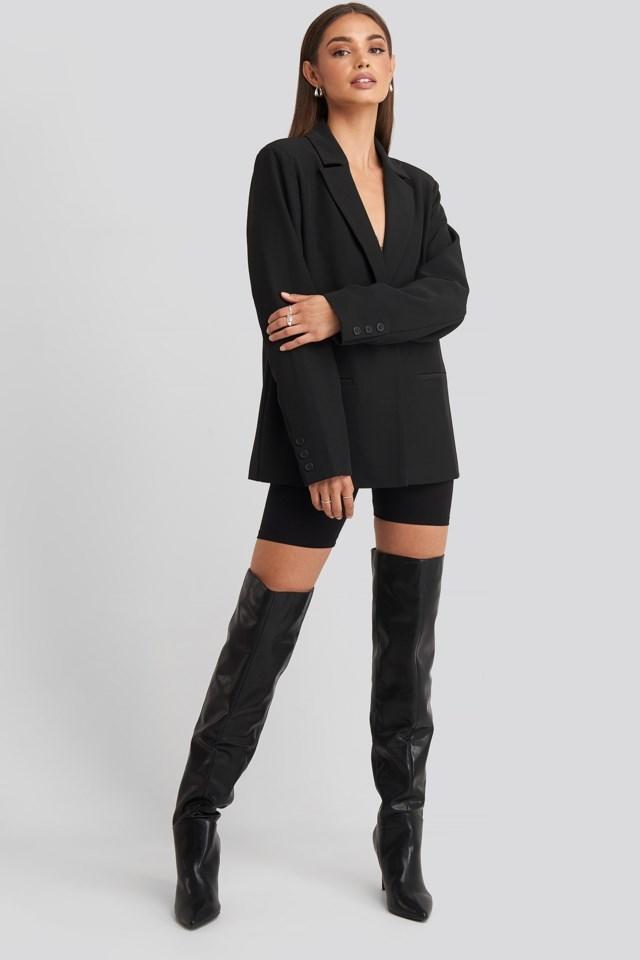 Hoss Padded Shoulder Blazer Outfit