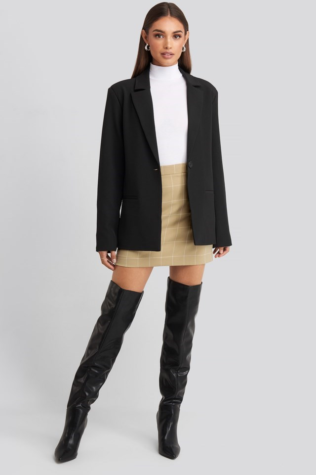 Hoss Checked Mini Skirt with Polo Top and Padded Blazer