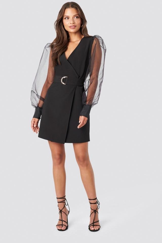Tina Maria Organza Sleeve Mini Dress Outfit