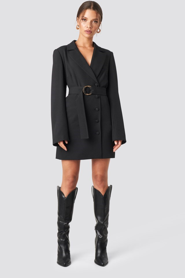 Tina Maria Oversized O-belted Blazer Dress Outfit