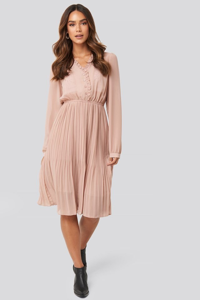 Pleated Flowy Button Up Dress Pink Outfit