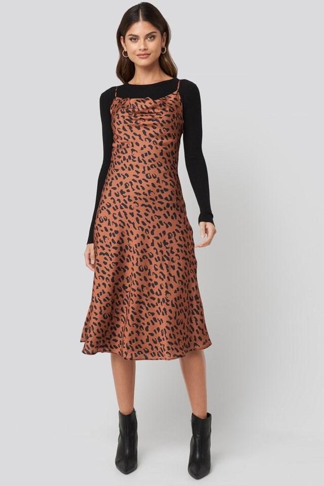 Leopard Print Midi Dress Outfit