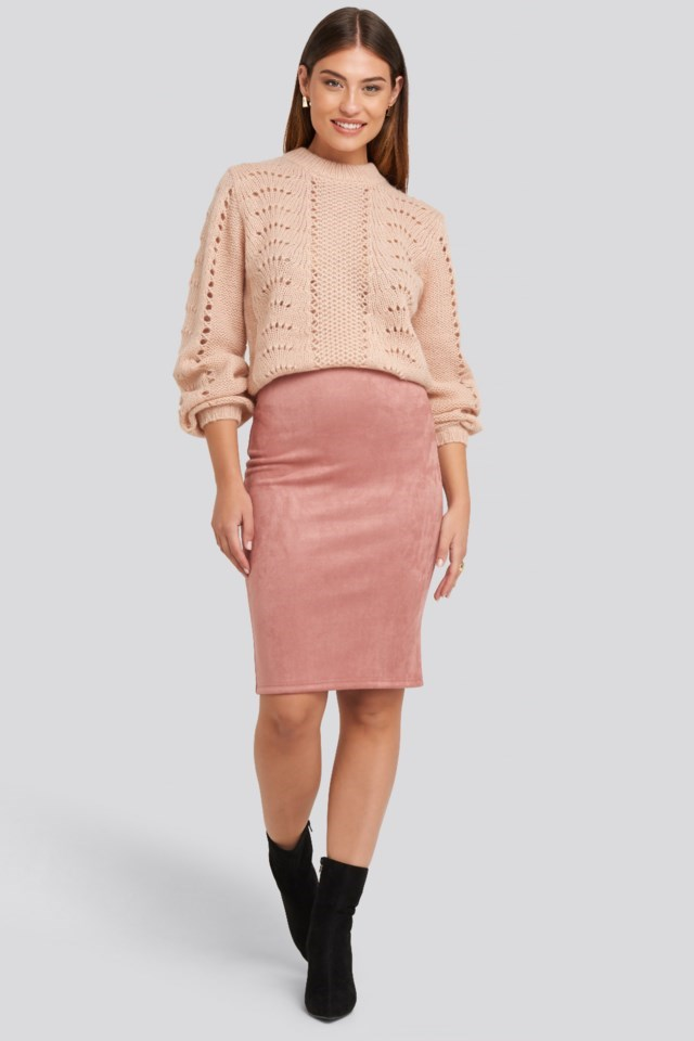 Pattern Knitted Round Neck Sweater Outfit.
