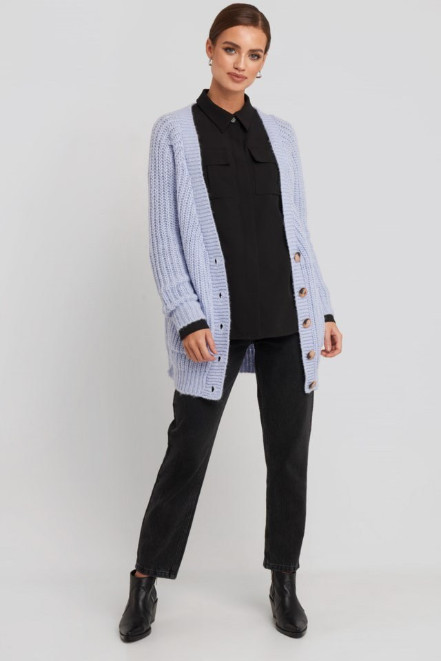 Button Up Chunky Cardigan Outfit.