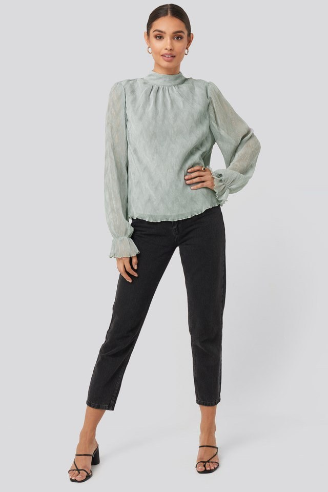 Structured Marked Shoulder Blouse Outfit.