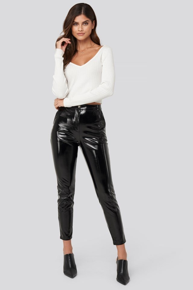 Highwaist Patent Pants Look