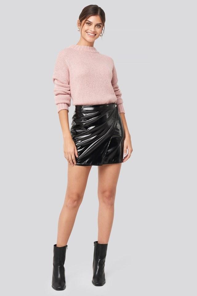 Patent Overlap Mini Skirt Black Look