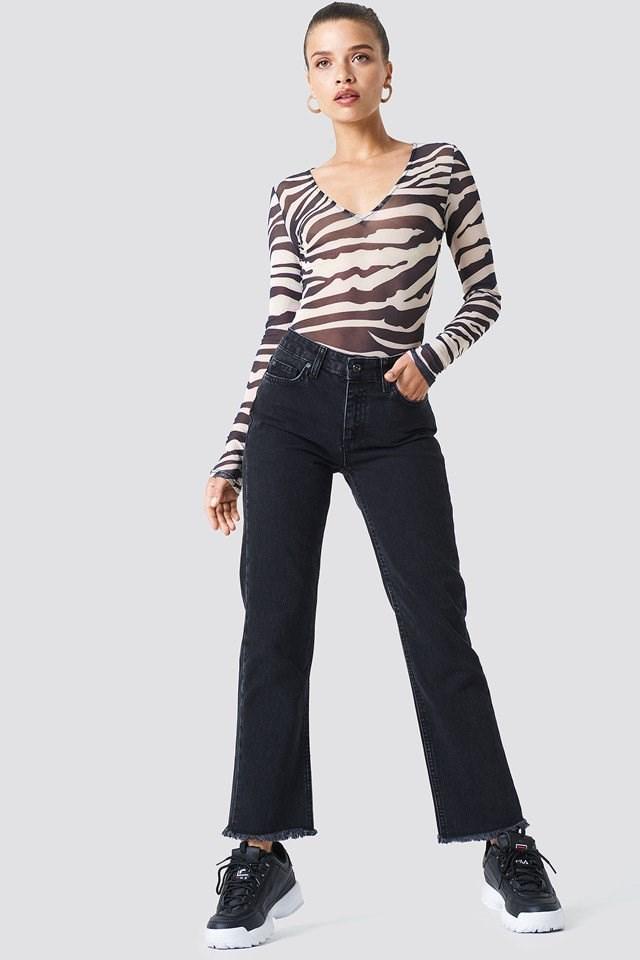 Denim Hem Jeans and Mesh Body