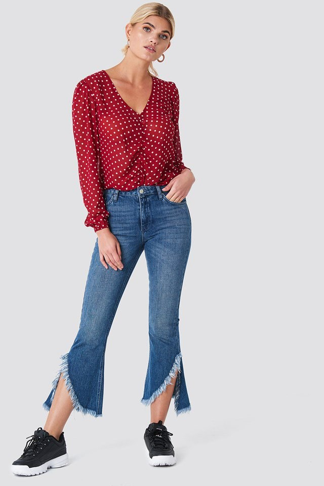 Dotted Blouse with Denim Hem Jeans