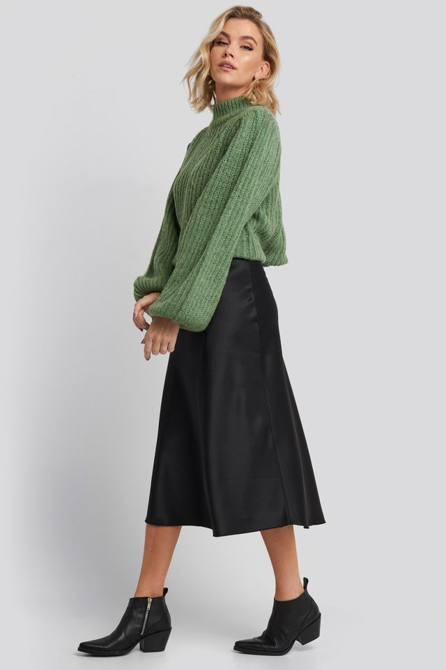 Puff Sleeve Knitted Sweater Green Outfit