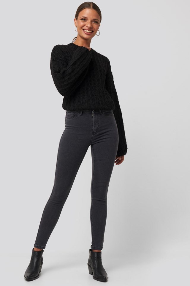 Round Neck Heavy Knit Sweater Look