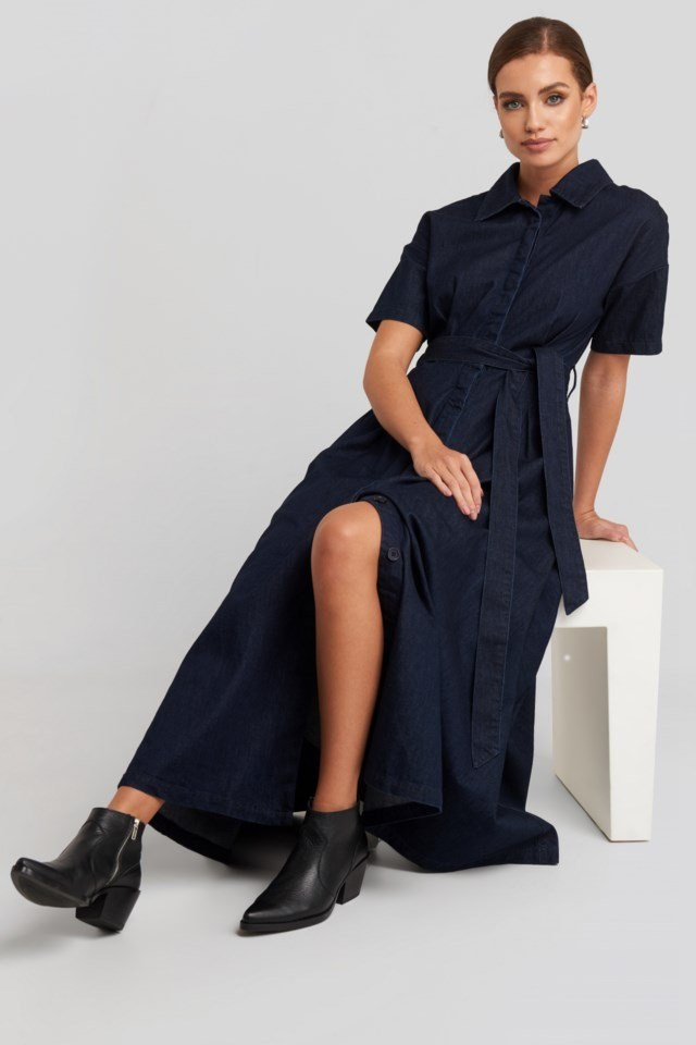 Short Sleeve Denim Dress Look