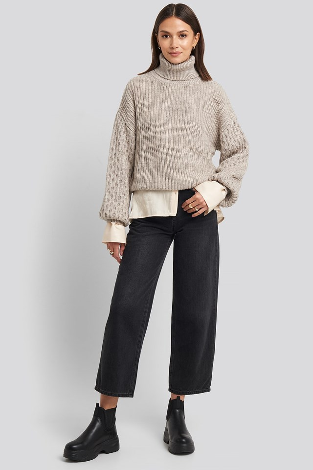 Sleeve Detailed Knitted Polo Sweater Look