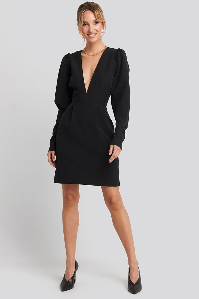 Deep V-Neck Puff Long Sleeve Mini Dress Black Outfit.