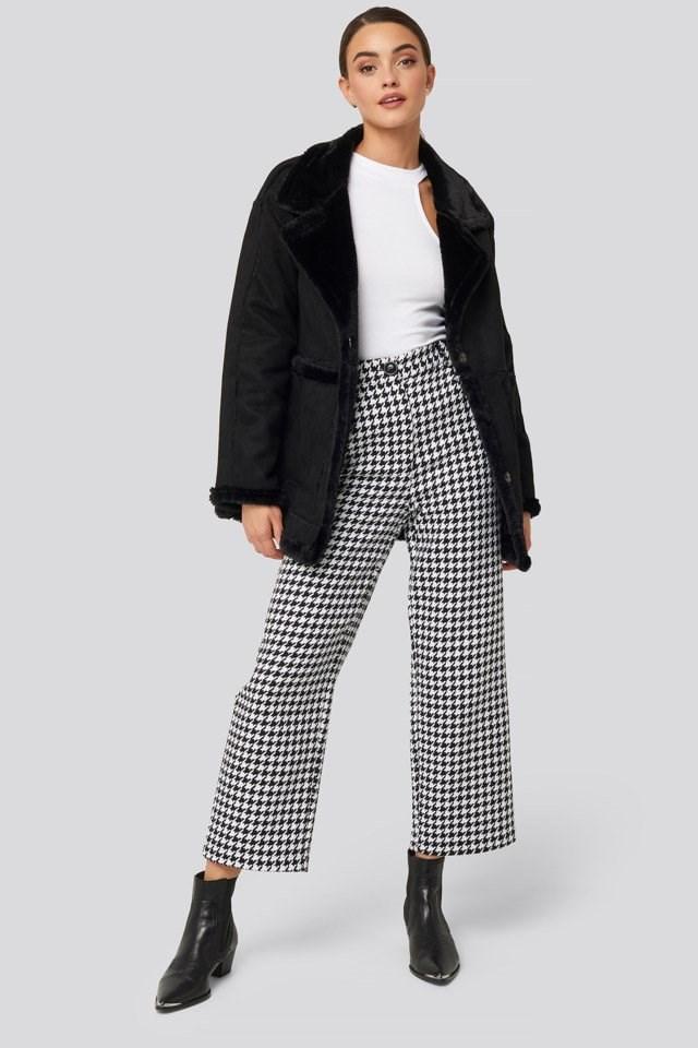 Big Pocket Faux Suede Jacket Look