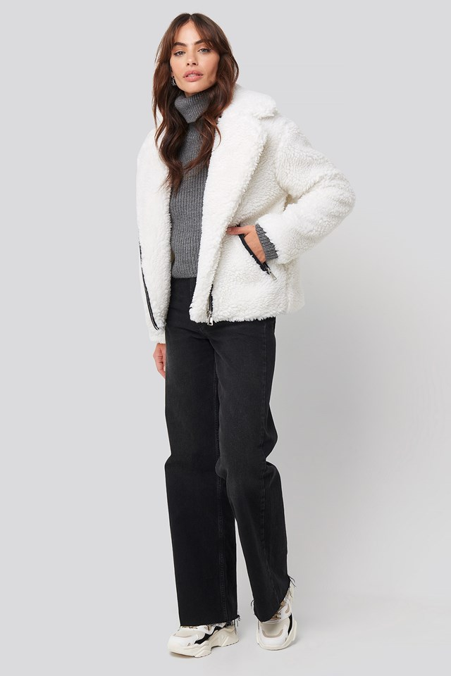 Short Faux Fur Belted Biker Jacket White Outfit.