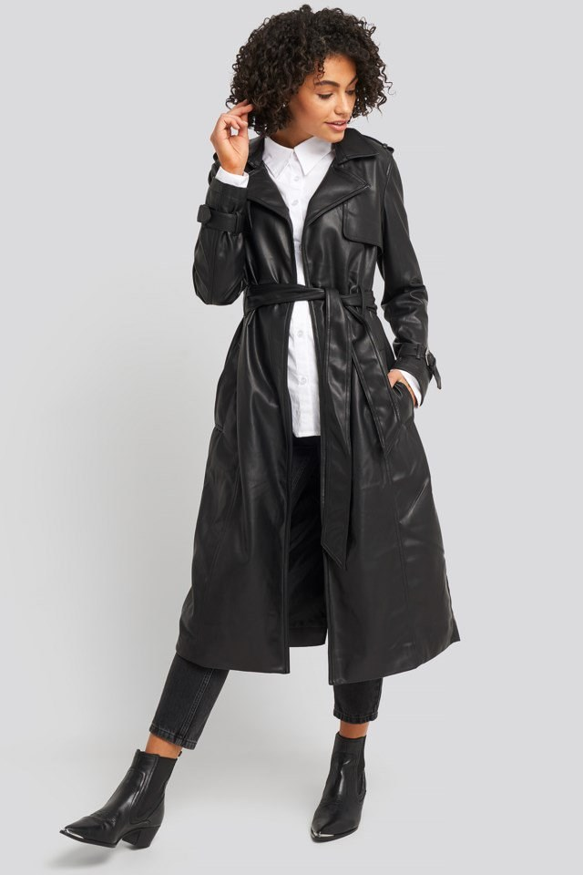 Faux Leather Trenchcoat Look