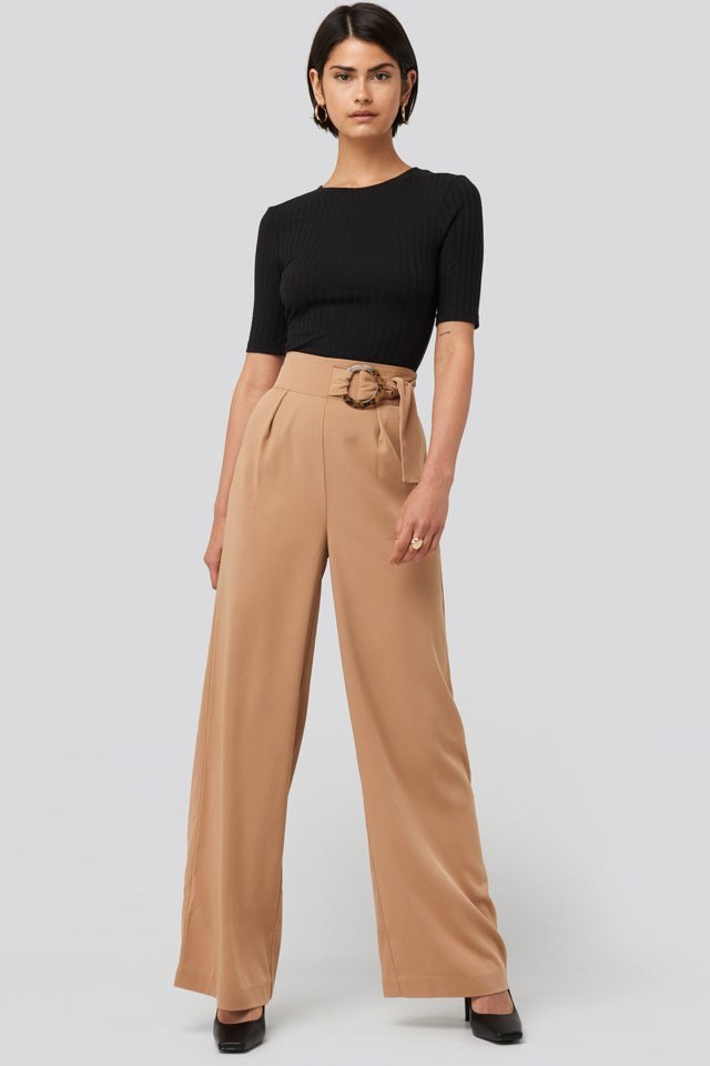 Belted Wide Leg Pants Outfit