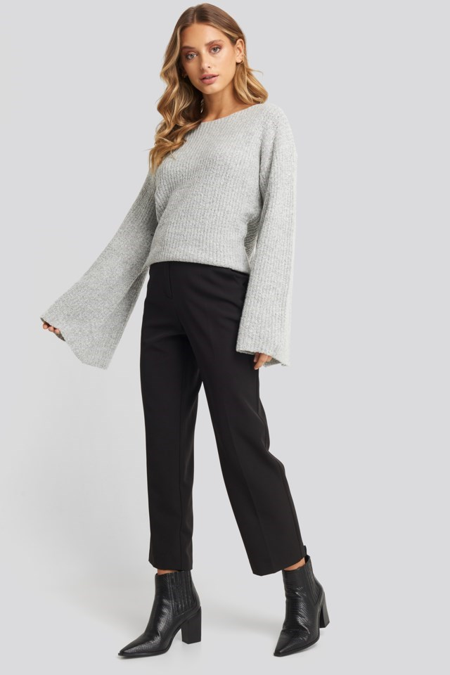 Big Sleeve Knitted Sweater Outfit