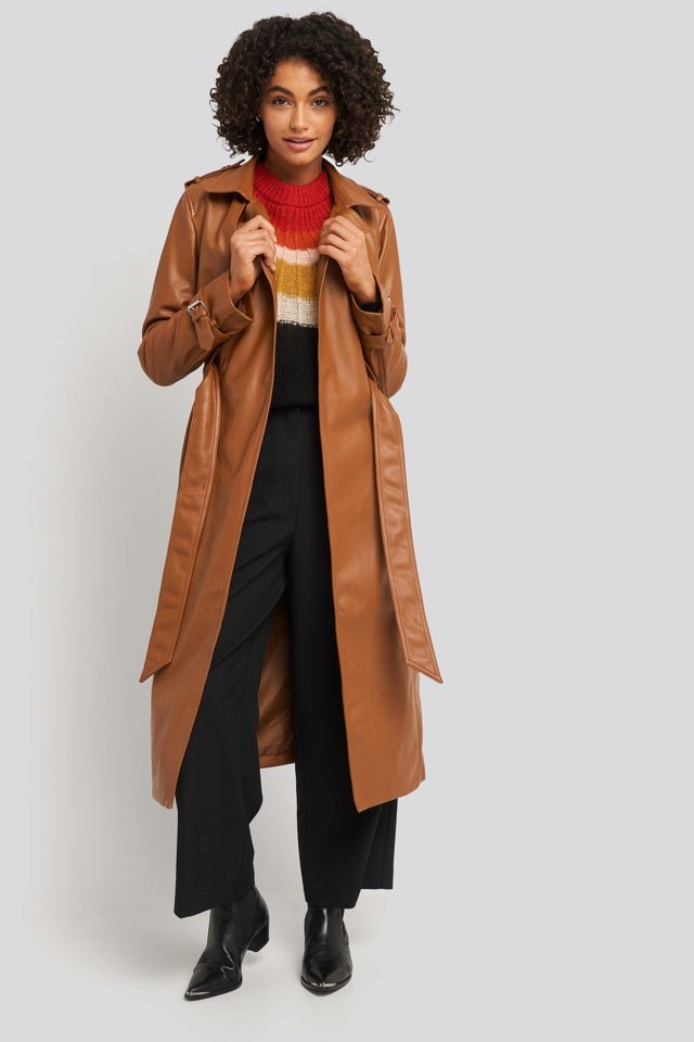 Faux Leather Trenchcoat Outfit