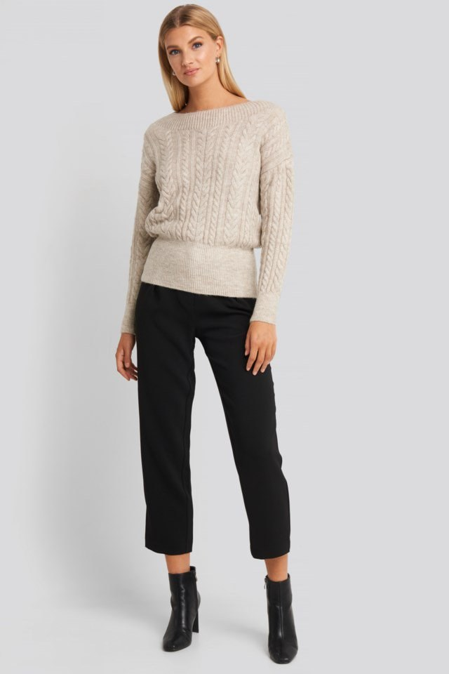 Knit Detail Sweater Beige Outfit.