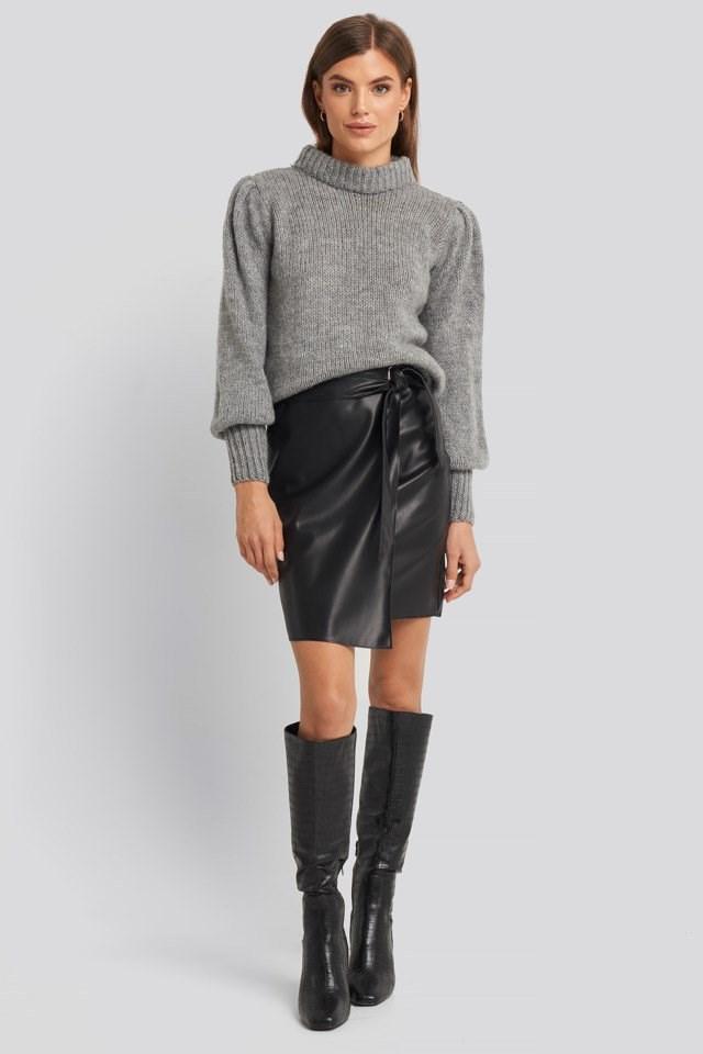 Overlap Tie PU Skirt Look