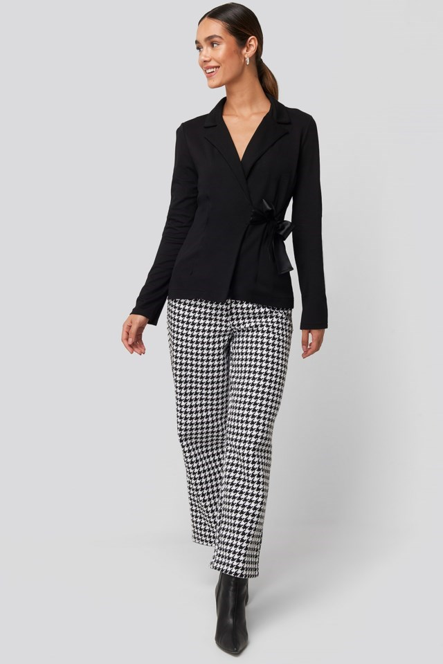 Asymmetric Side Tie Blazer Outfit.